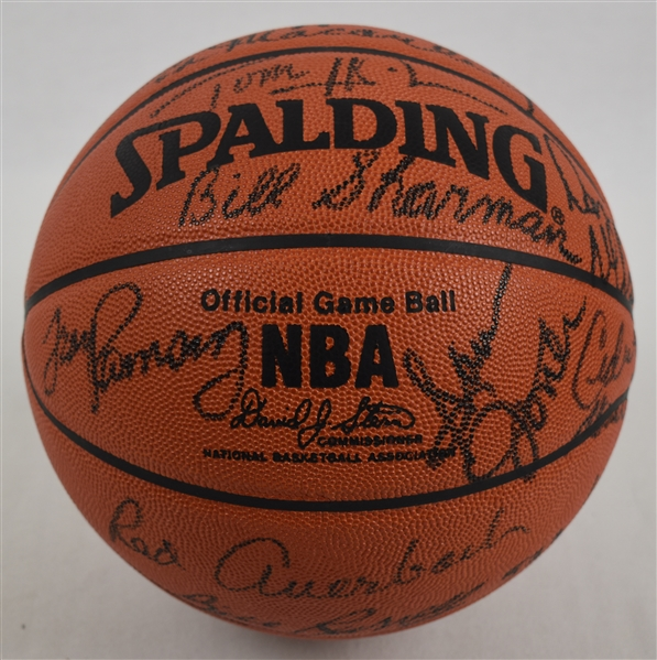Boton Celtics Legends Autographed Basketball w/Red Auerbach Larry Bird Bill Russell Bob Cousy JSA LOA