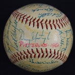 Pittsburgh Pirates 1961 Team Signed Baseball w/Roberto Clemente 1st Batting Title & Gold Glove Award JSA LOA