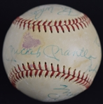 New York Yankees Multi Signed HOF Baseball w/Mickey Mantle & George Steinbrenner JSA LOA
