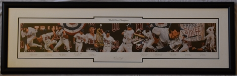 "Frank Violas 1987 ""World Class Champions"" Team Signed Lithograph by Terrence Fogarty #16/87 w/Twins LOA"