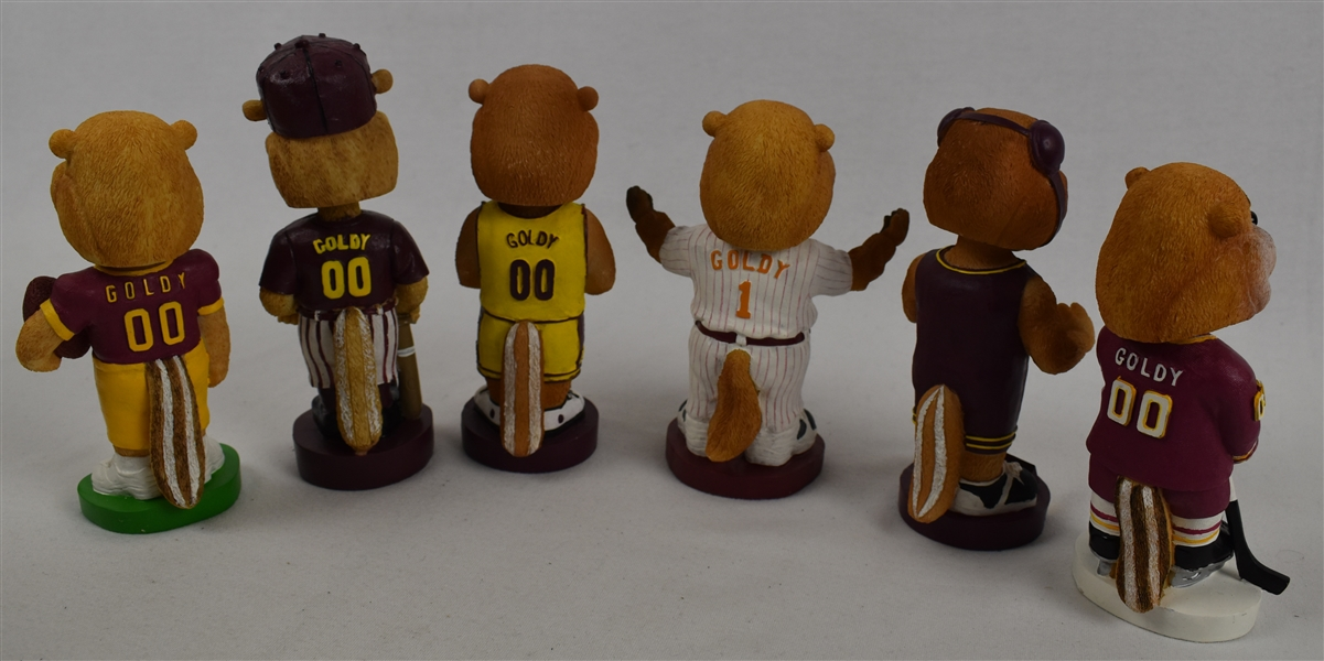 Collection of 6 Minnesota Gophers Bobbleheads