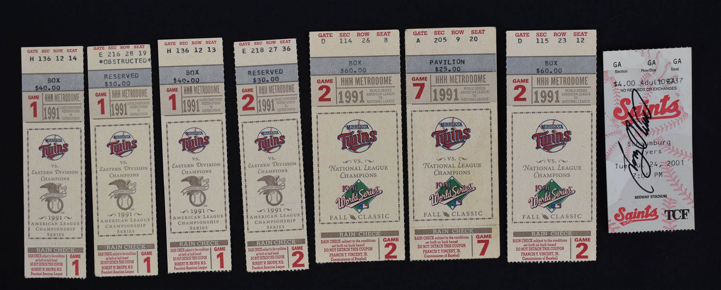 Minnesota Twins 1991 Collection of 7 ALCS & World Series Tickets