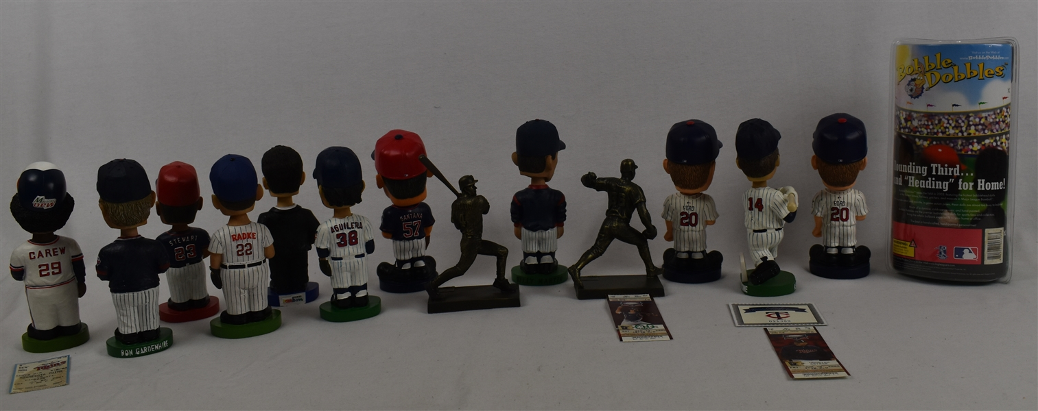 Collection of 14 Minnesota Twins Bobbleheads & Figurines