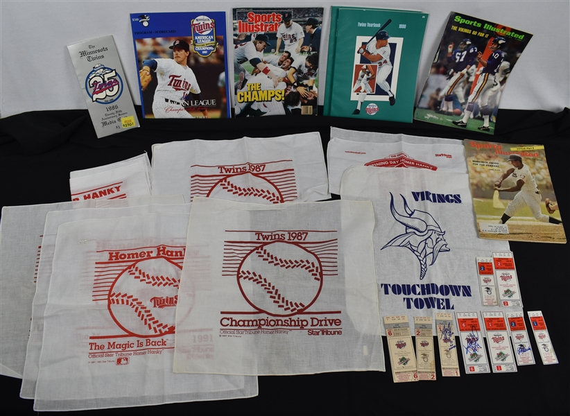 Minnesota Twins Collection w/Tickets & Homer Hankies