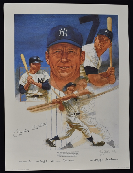 Mickey Mantle Autographed & Inscribed Career HR #81 Cliff Spohn Limited Edition #81/536 Lithograph