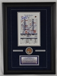 New York Yankee Final Game Display w/Game Used Dirt & Joe Girardi Signed Line-Up Card Steiner