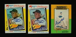 Willie Mays Lot of 3 Autographed Baseball Cards