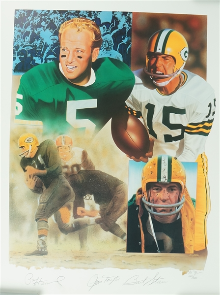 Bart Starr Jim Taylor & Paul Hornung Autographed Limited Edition Lithograph