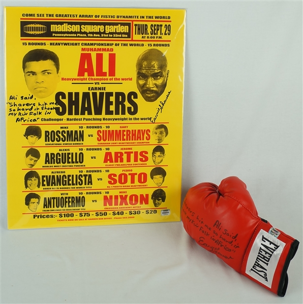Ernie Shavers Autographed Boxing Glove & Muhammad Ali Fight Poster