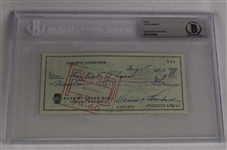 Vince Lombardi Signed 1963 Personal Check #202 BGS Authentic