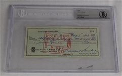 Vince Lombardi Signed 1963 Personal Check #203 BGS Authentic