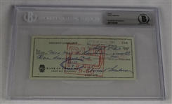 Vince Lombardi Signed 1963 Personal Check #205 BGS Authentic *Twice Signed Lombardi*