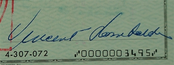 Vince Lombardi Signed 1963 Personal Check #206 BGS Authentic