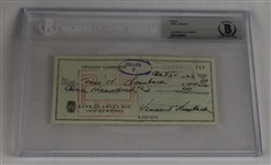 Vince Lombardi Signed 1963 Personal Check #212 BGS Authentic *Twice Signed Lombardi*