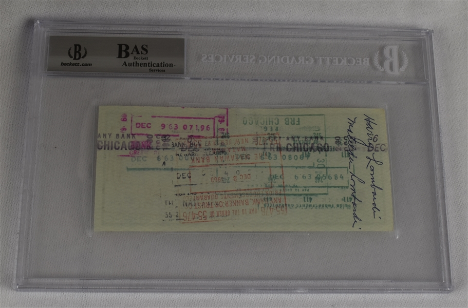 Vince Lombardi Signed 1963 Personal Check #217 BGS Authentic *Twice Signed Lombardi*
