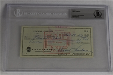 Vince Lombardi Signed 1963 Personal Check #218 BGS Authentic