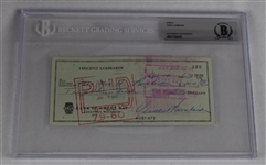 Vince Lombardi Signed 1963 Personal Check #220 BGS Authentic *Twice Signed Lombardi*