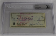 Vince Lombardi Signed 1963 Personal Check #229 BGS Authentic
