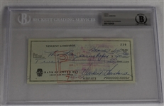 Vince Lombardi Signed 1964 Personal Check #239 BGS Authentic