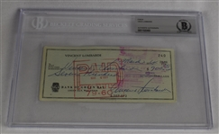 Vince Lombardi Signed 1964 Personal Check #240 BGS Authentic *Signed Vince Lombardi Three Times*