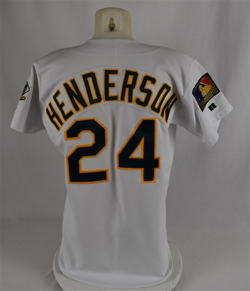Rickey Henderson 1994 Oakland Athletics Game Used Jersey w/Dave Miedema LOA