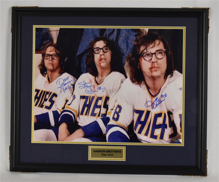 Hanson Brothers Autographed Slap Shot Framed Display