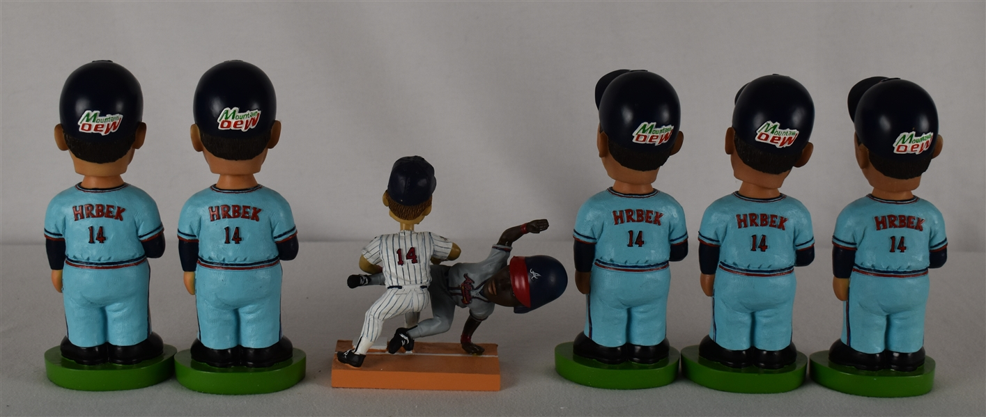Kent Hrbek Lot of 6 Unsigned Bobbleheads w/Puckett Family Provenance