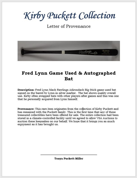 Fred Lynn Game Used & Autographed Bat w/Puckett Family Provenance