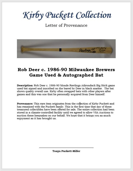 Rob Deer c. 1986-90 Milwaukee Brewers Game Used & Autographed Bat w/Puckett Family Provenance