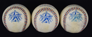 Collection of (3) 1995 All Star Game Used Baseballs w/Puckett Family Provenance