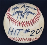 Kirby Puckett 1987 Hit #200 Baseball From Division Clinching Game vs. Texas Rangers w/Puckett Family Provenance