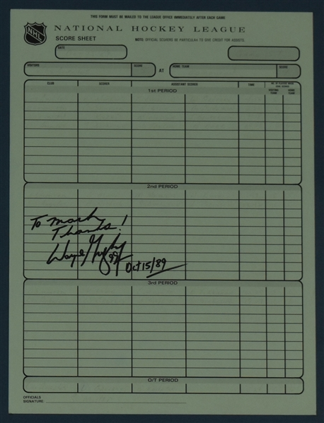 Wayne Gretzky Official Scoresheet Carbon From Game in Which Gretzky Broke Gordie Howe's All Time Scoring Record