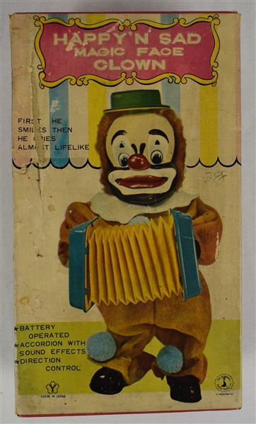 Vintage 1960's Frankonia Happy N Sad Clown Battery Operated Toy w/Original Box