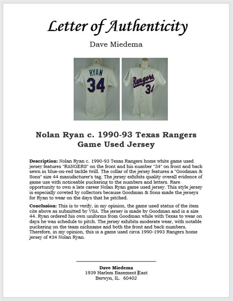 Nolan Ryan c. 1990-93 Texas Rangers Game Used Jersey w/ MEARS & Dave Miedema LOA's