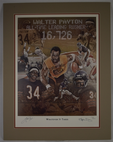 Walter Payton Whatever It Takes Lot of 2 Autographed Limited Edition Lithograph
