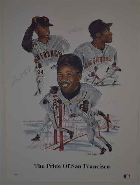 Willie Mays Barry Bonds & Bobby Bonds Autographed Lithograph