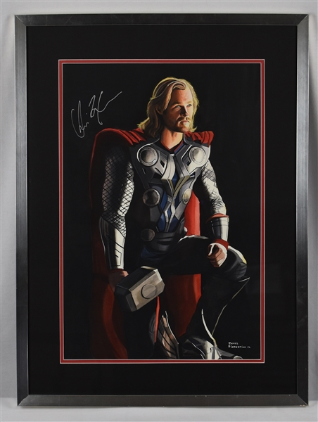 Chris Hemsworth Original Thor James Fiorentino Watercolor Painting *Signed by Hemsworth*