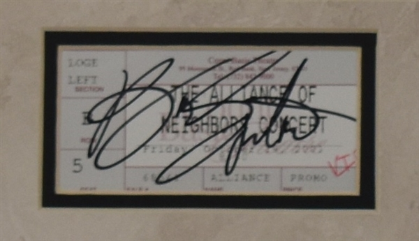 Bruce Springsteen Framed Display w/Signed Concert Ticket