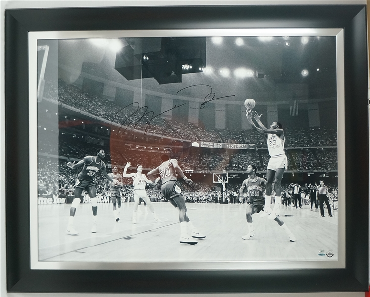 Michael Jordan Autographed Framed 38x48 UNC 17 Second Game Winning Shot Photo UDA