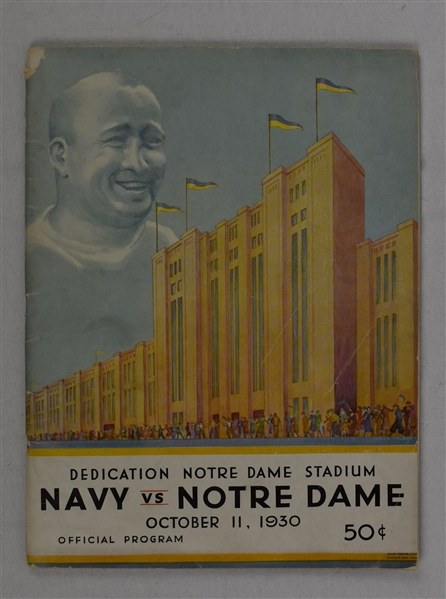 Notre Dame vs. Navy 1930 Dedication to Notre Dame Stadium Program *2nd Game Ever Played*