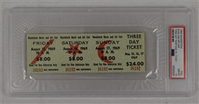 Original 1969 Woodstock Full Ticket Three Day Ticket Music And Art Fair PSA 10 Gem Mint