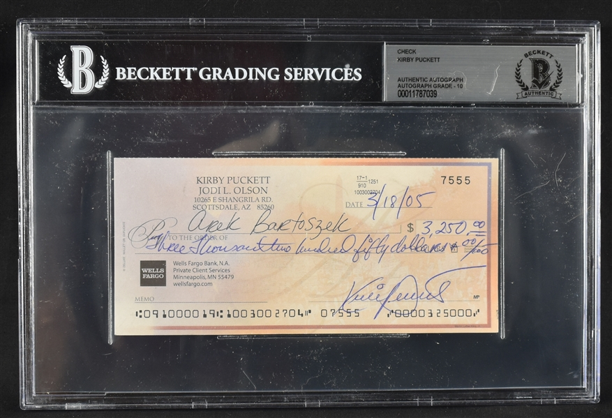Kirby Puckett Signed Personal Check w/Autograph Graded BGS 10