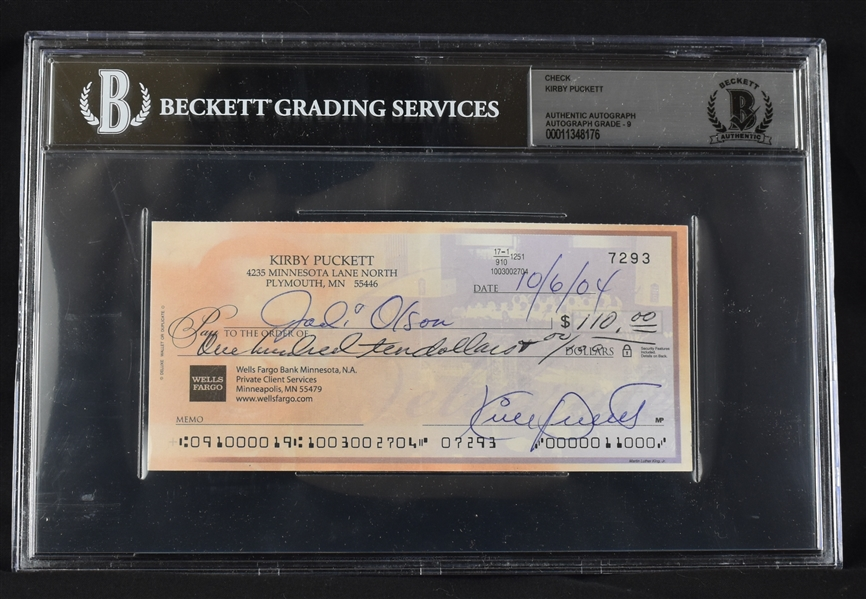 Kirby Puckett Signed Personal Check w/Autograph Graded BGS 9