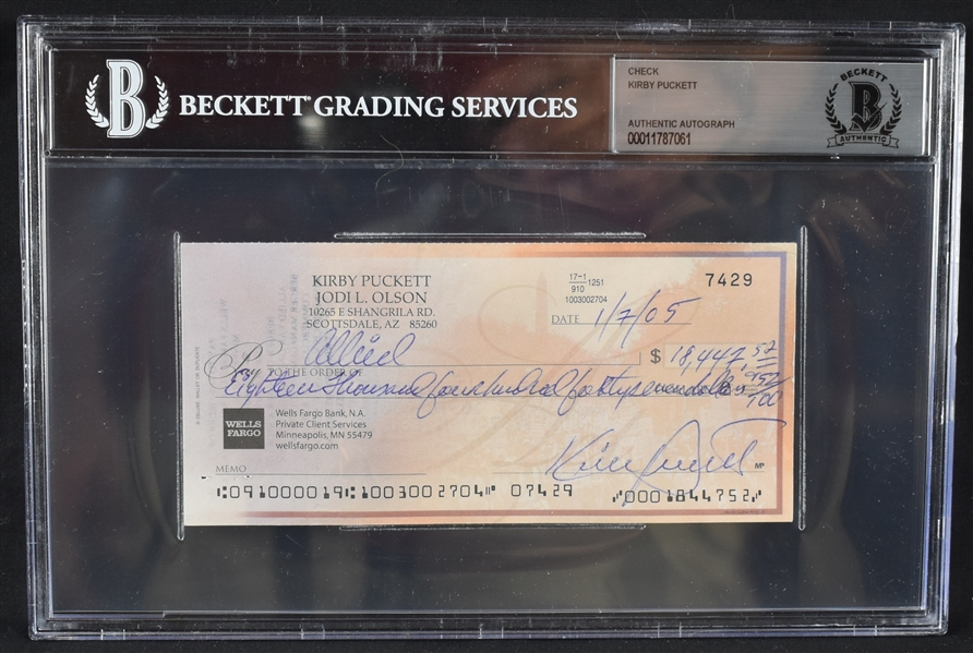 Kirby Puckett Signed Personal Check BGS Authenticated