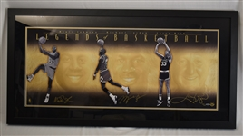 Michael Jordan Larry Bird & Magic Johnson Autographed Limited Edition Framed Display UDA