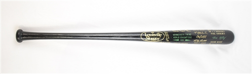 Kirby Pucketts 1991 World Series Champions Black Trophy Bat w/Puckett Family Provenance