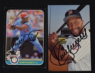 Kirby Puckett Lot of 2 Autographed Cards w/Puckett Family Provenance