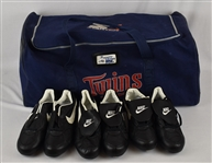 Kirby Puckett Equipment Bag w/3 Pairs of Game Ready Cleats w/Puckett Family Provenance
