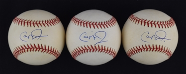 Cal Ripken Jr. Lot of 3 Autographed Baseballs w/Puckett Family Provenance