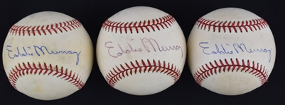 Eddie Murray Lot of 3 Autographed Baseballs w/Puckett Family Provenance